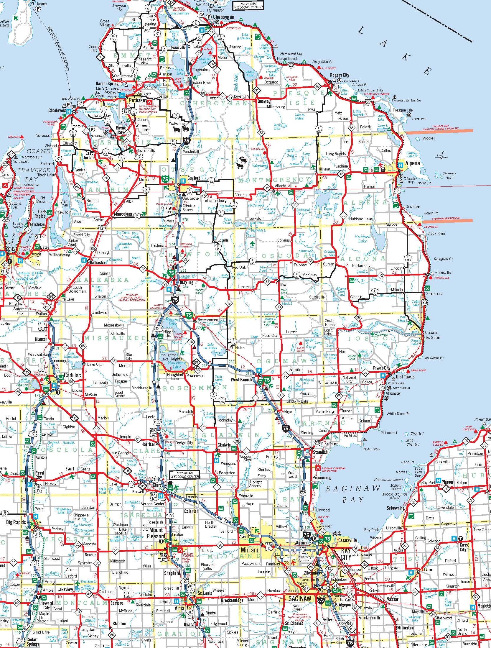Michigan County Road Maps Michigan Map - Michigan county map